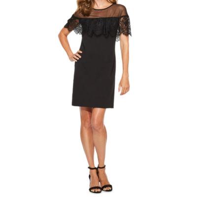 R & K Originals Short Sleeve Lace Shift Dress