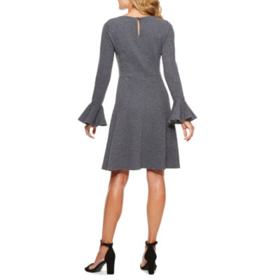 London Style Long Sleeve Fit & Flare Dress