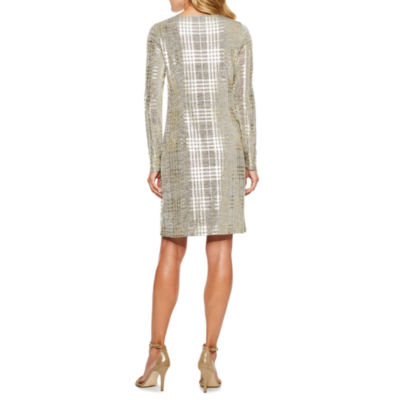 Jessica Howard Long Sleeve Stripe Sheath Dress