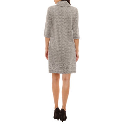 Perceptions 3/4 Sleeve Cowl-Neck Sweater Dress-Petites