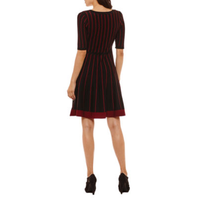 Danny & Nicole Elbow Sleeve Fit and Flare Sweater Dress-Petites