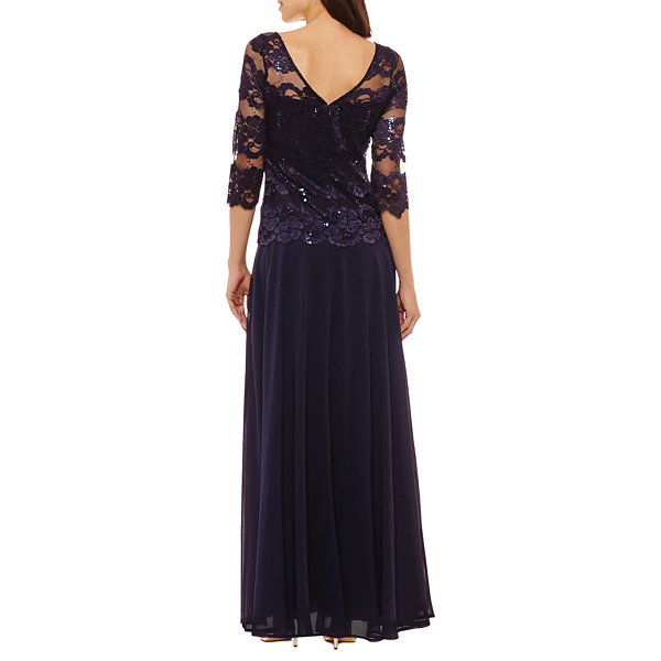 Melrose 3/4 Sleeve Evening Gown-Petites