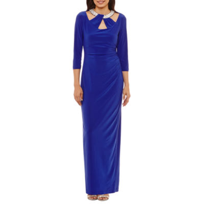 Blu Sage 3/4 Sleeve Bling-Neck Evening Gown-Petites