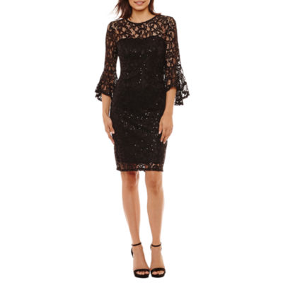Blu Sage 3/4 Bell Sleeve Sequin Lace Sheath Dress-Petites