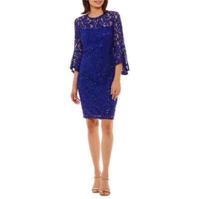 Blu Sage 3/4 Bell Sleeve Sequin Lace Sheath Dress-Petites