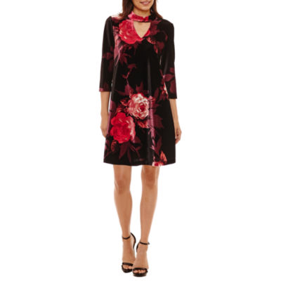 Studio 1 3/4 Sleeve Velvet Floral Shift Dress-Petites