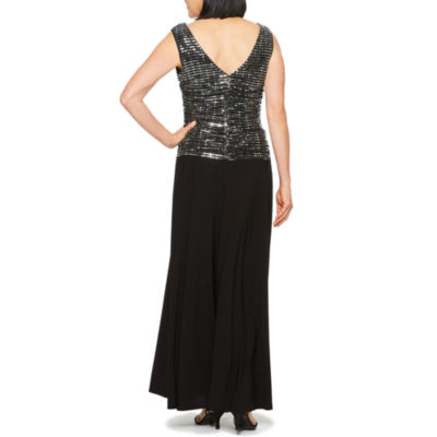 R & M Richards Sleeveless Embellished Evening Gown