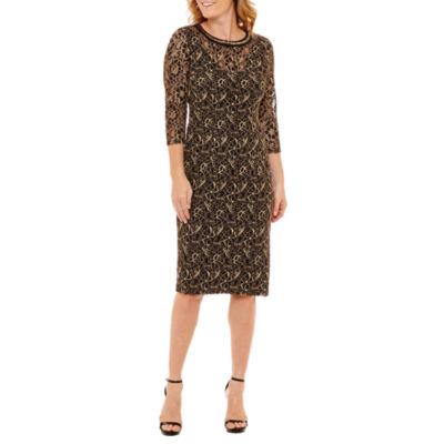 Liz Claiborne 3/4 Sleeve Beaded Sheath Dress