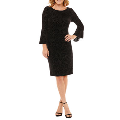 Liz Claiborne Bell Sleeve Burnout Velvet Sheath Dress