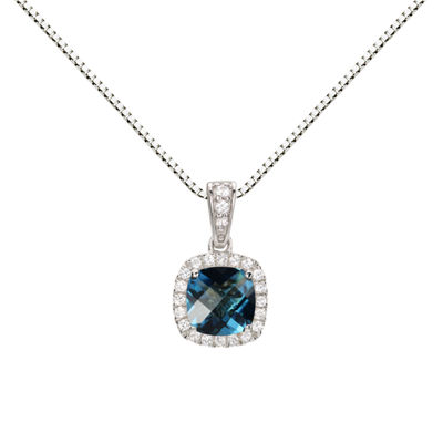 Womens Genuine Blue Blue Topaz Sterling Silver Round Pendant Necklace