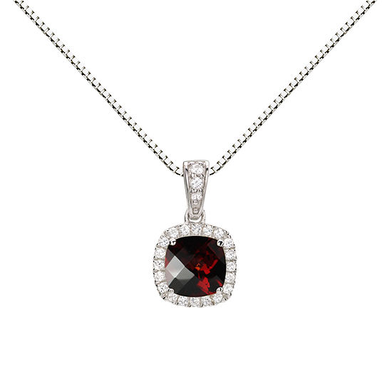 Womens Genuine Red Garnet Sterling Silver Round Pendant Necklace
