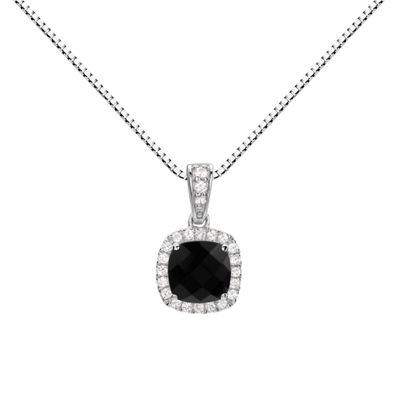 Womens Genuine Black Onyx Sterling Silver Round Pendant Necklace
