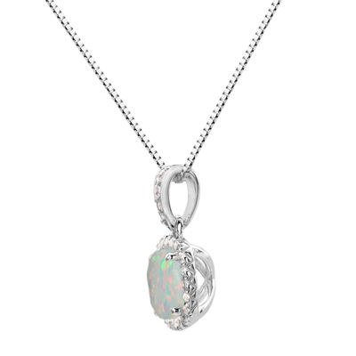 Womens Lab Created Multi Color Opal Sterling Silver Round Pendant Necklace