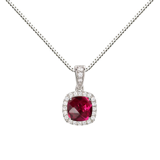 Womens Lab Created Red Ruby Sterling Silver Round Pendant Necklace