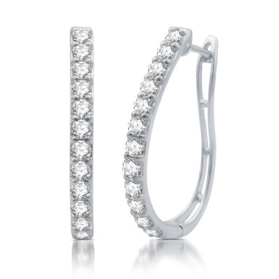 2 CT. T.W. Genuine White Diamond 10K White Gold 30.2mm Hoop Earrings