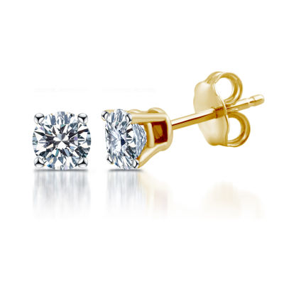 Deluxe 1/4 CT. T.W. Round White Diamond 14K Gold Stud Earrings