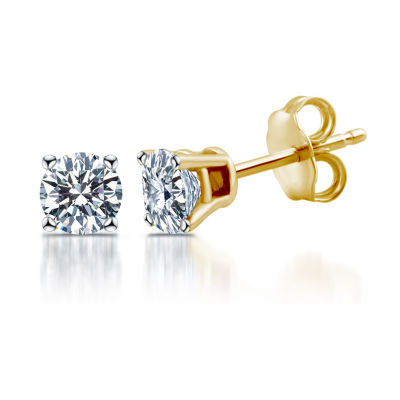 Deluxe 1 CT. T.W. Round White Diamond 14K Gold Stud Earrings