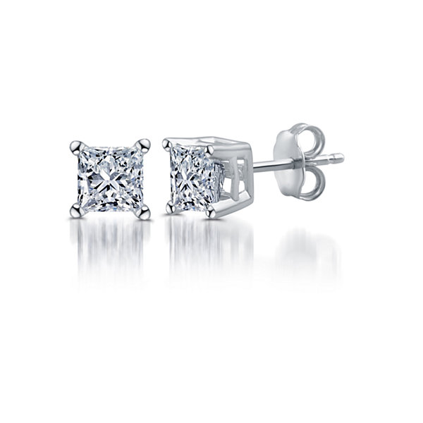Classic 1/4 CT. T.W. Princess White Diamond 10K Gold Stud Earrings