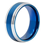 Mens 8MM Tungsten with Blue IP Wedding Band