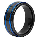 Blue Line 8MM Tungsten Wedding Band