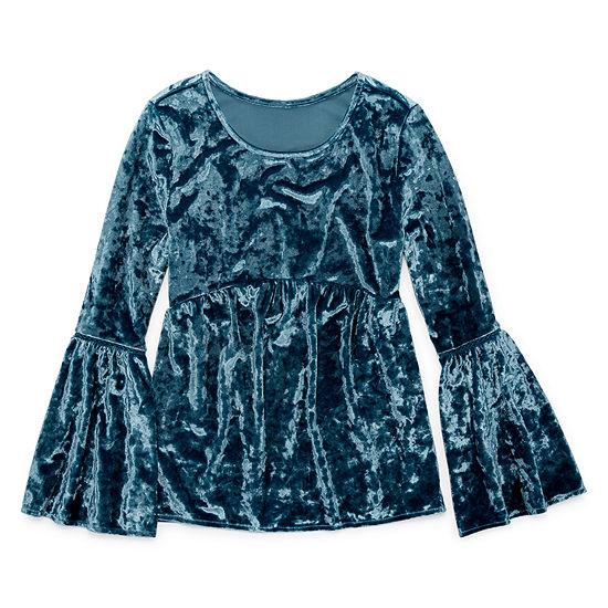 Arizona Velvet Bell Sleeve Top - Girls' 7-16 & Plus