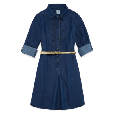 Arizona Belted Long Sleeve Cuffed Sleeve Shirt Dress - Big Kid Girls
