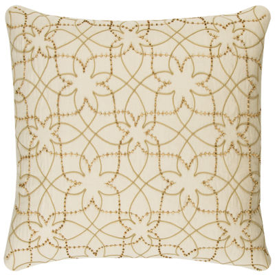 """Donny Osmond By Rizzy Home Botanical Swirl 20"""" X 20"""" Natural Decorative Filled Pillow"""