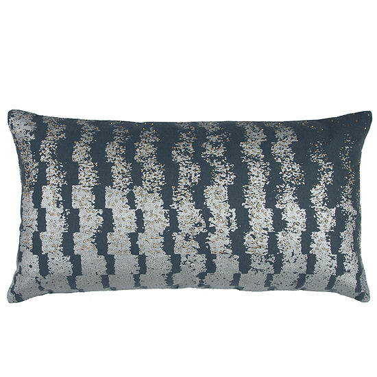 "Donny Osmond By Rizzy Home Geometric 14"" X 26"" Slate Grey Decorative Filled Pillow"