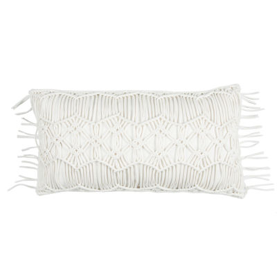 "Donny Osmond By Rizzy Home Macramé  14"" X 26"" Ivory Decorative Filled Pillow"