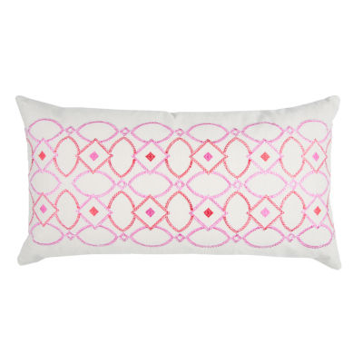 """Donny Osmond By Rizzy Home Geometric 14"""" X 26"""" Natural Decorative Filled Pillow"""