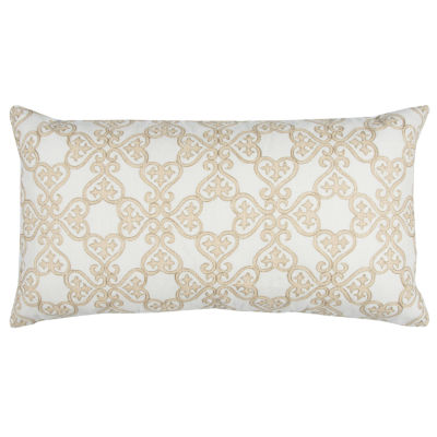 """Donny Osmond By Rizzy Home Geometric 14"""" X 26"""" White Decorative Filled Pillow"""