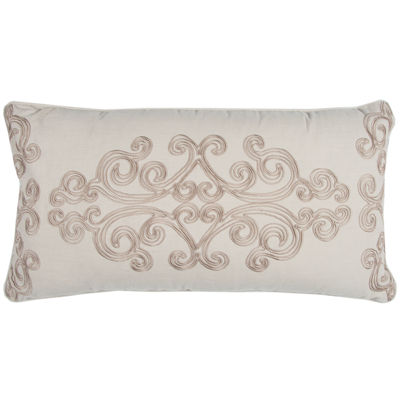 "Donny Osmond By Rizzy Home Floral 14"" X 26"" Taupe Decorative Filled Pillow"
