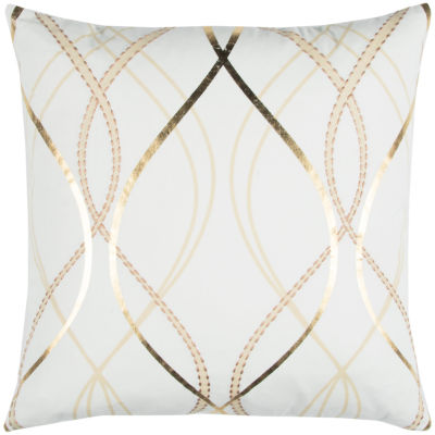 "Donny Osmond By Rizzy Home Geometric 20"" X 20"" White Decorative Filled Pillow"