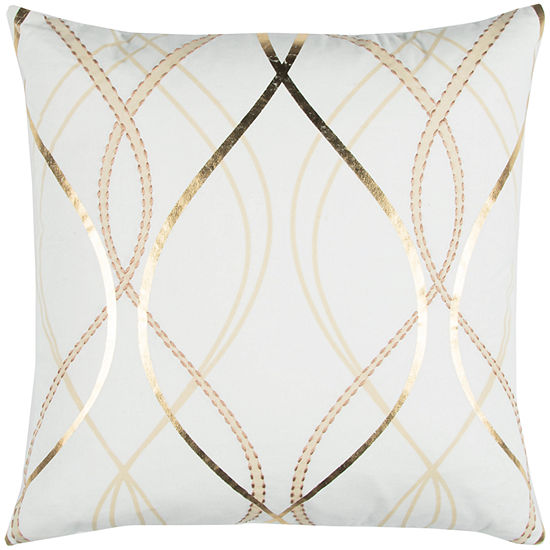 """Donny Osmond By Rizzy Home Geometric 20"""" X 20"""" White Decorative Filled Pillow"""