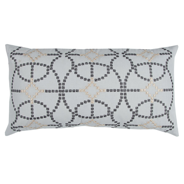 "Donny Osmond By Rizzy Home Geometric 14"" X 26"" Silver Decorative Filled Pillow"