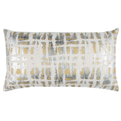 """Donny Osmond By Rizzy Home Abstract 14"""" X 26"""" Natural Decorative Filled Pillow"""