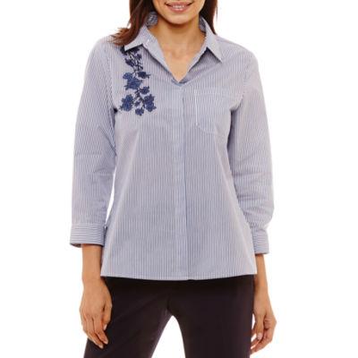 Liz Claiborne 3/4 Sleeve Embroidered Shirt