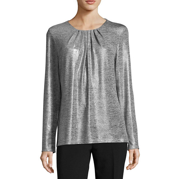 Liz Claiborne Long Sleeve Pleated Neck Blouse