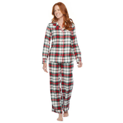 North Pole Trading Co. Plaid Long Sleeve Womens Pant Pajama Set 2-pc.