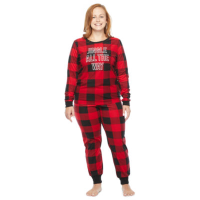 North Pole Trading Co. Buffalo Plaid Long Sleeve Womens Pant Pajama Set 2-pc.