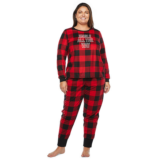 North Pole Trading Co. Buffalo Plaid Long Sleeve Womens-Plus Pant Pajama Set 2-pc.