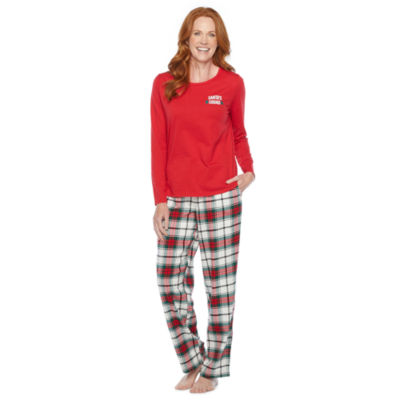 North Pole Trading Co. Plaid Womens Long Sleeve Pant Pajama Set 2-pc.