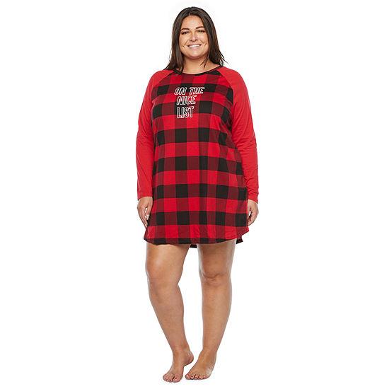 North Pole Trading Co. Buffalo Plaid Womens-Plus Long Sleeve Round Neck Nightshirt