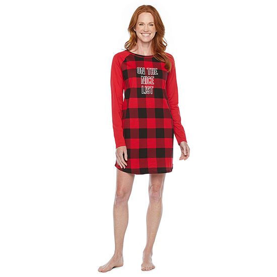 North Pole Trading Co. Buffalo Plaid Womens Nightshirt Long Sleeve Round Neck