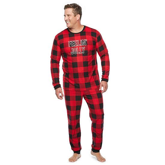 North Pole Trading Co. Buffalo Plaid Mens-Tall Long Sleeve Pant Pajama Set 2-pc.