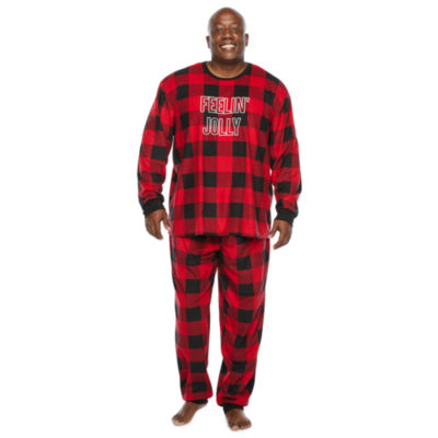North Pole Trading Co. Buffalo Plaid Mens-Plus Long Sleeve Pant Pajama Set 2-pc.
