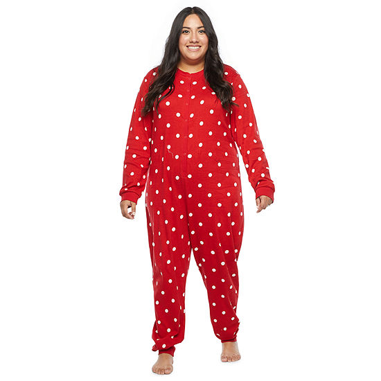 North Pole Trading Co. Tis The Varsity Season Womens Plus Long Sleeve One Piece Pajama