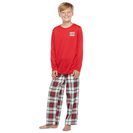 North Pole Trading Co. Tartan Plaid Little & Big Unisex - Husky 2-pc. Christmas Pajama Set