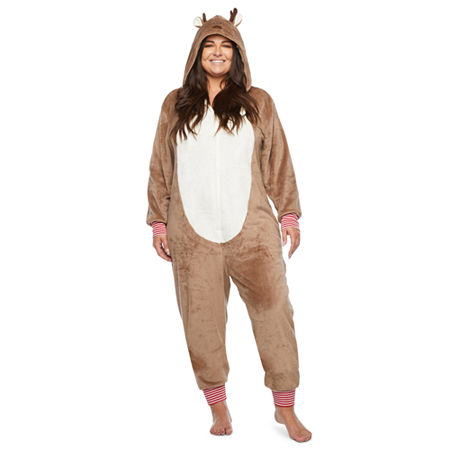 North Pole Trading Co. Reindeer Unisex Adult Plus Plush Long Sleeve One Piece Pajama, 2x , Brown