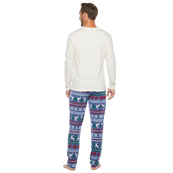 North Pole Trading Co. Fairisle Mens Long Sleeve Pant Pajama Set 2-pc.